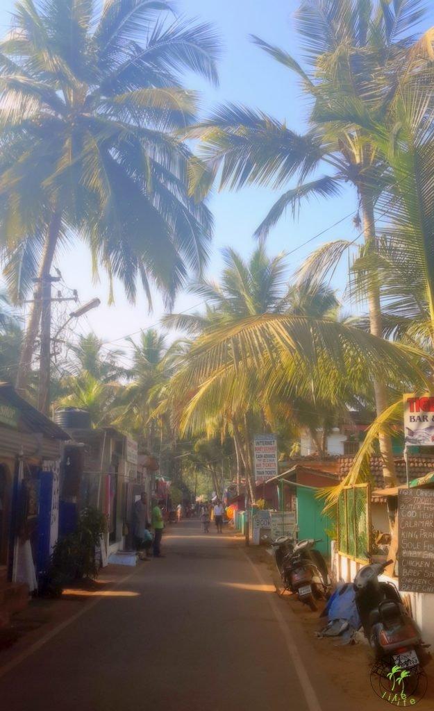 W Indiach. Ulica na Goa w Agonda Beach, deptak.