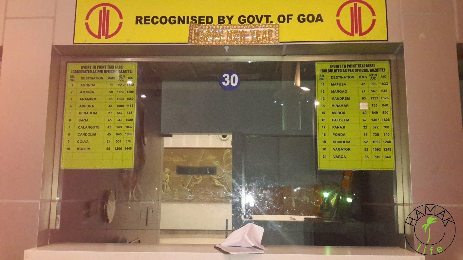 Droga do lotniska na Goa i lotnisko na Goa. Tablica informacyjna cen taksówek na Goa.