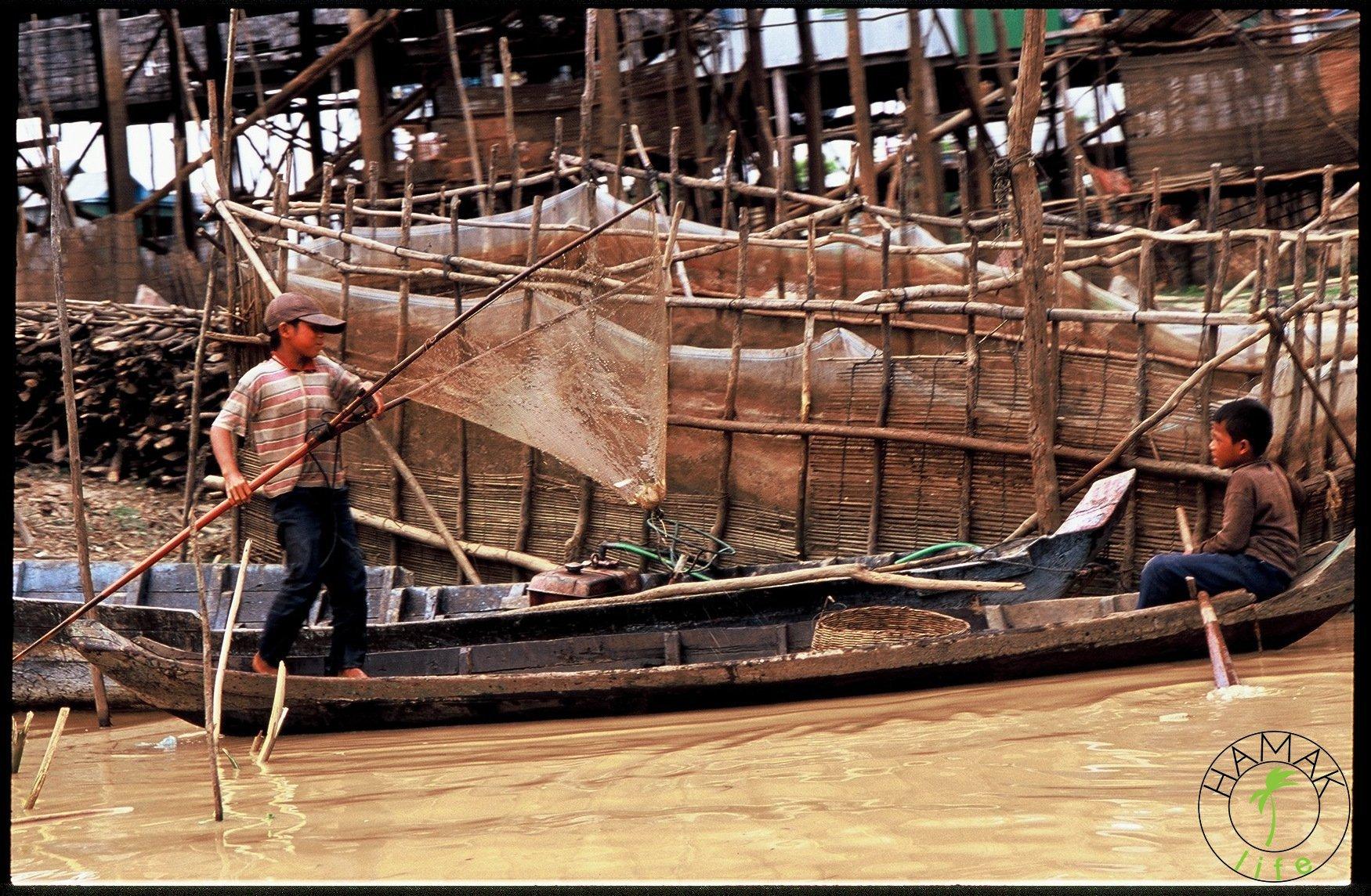 Chłopcy w Kambodży zarzucają sieć i łowią ryby.