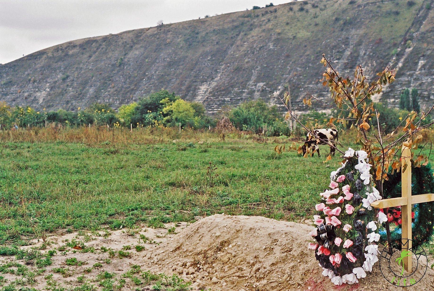 Reportaż z wioski w Mołdawii. Grób w polu.