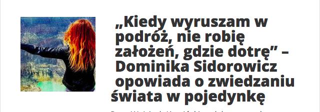 """Dominika Sidorowicz wywiad dla portalu """"Polska zwiedza""""."""